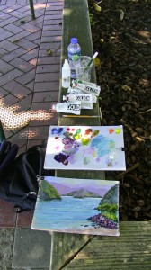 My paint set laid out along the Picton waterfront.