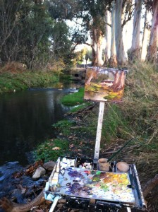 My easel along Penitencia Creek close to the entrance to Alum Rock Park.