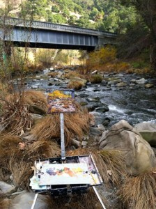 Painting under the highway in Niles Canyon