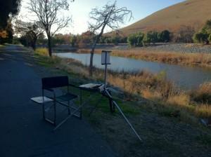 I set up the easel on the Alameda Creek bike trail