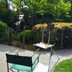My easel on one of the many paths winding through the garden.