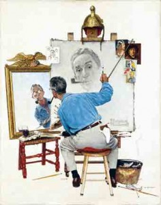 Norman Rockwell Triple Self Portrait