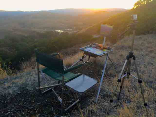 My easel as the sun was close to setting.