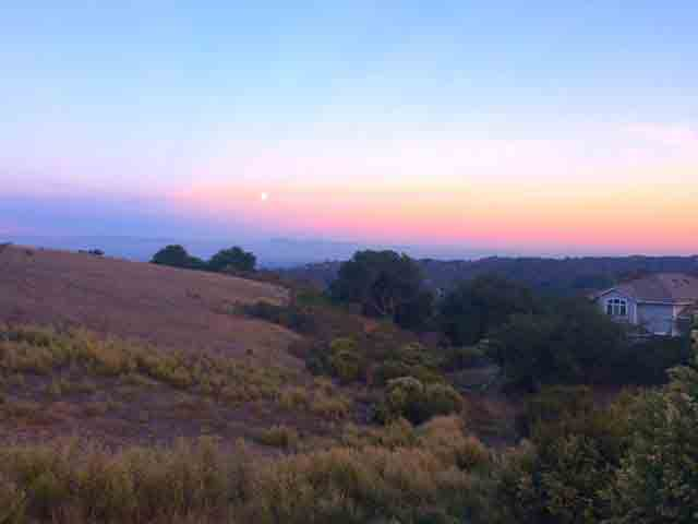 The rising moon over Silicon Valley.