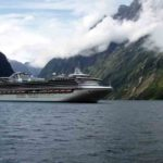 Princess cruise ship in Milford Sound
