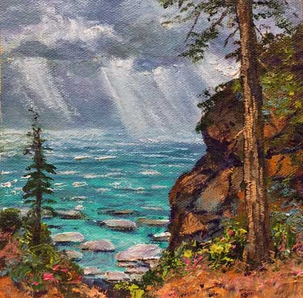 Tahoe Squall, 6x6, oil on panel