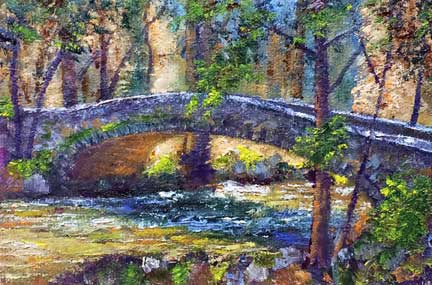 Yosemite Creek Bridge, 4x6 miniature, oil on canvas board